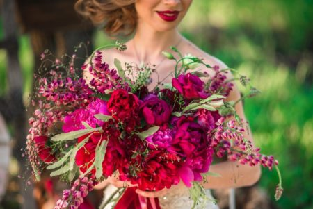 Modern Bouquet with red and pink flowers